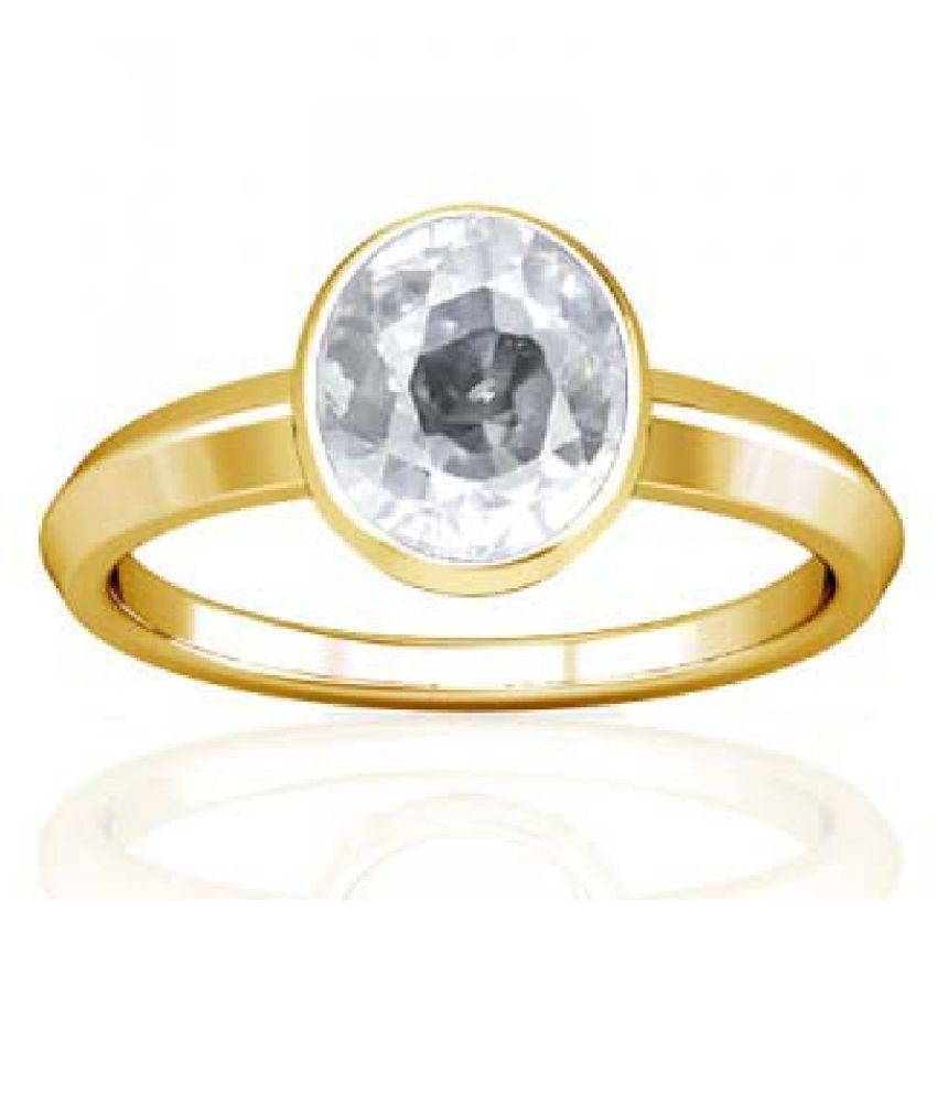 5.5 Ratti ZIRCON Gold Plated Ring With Certified Astrological Stone by Kundli Gems