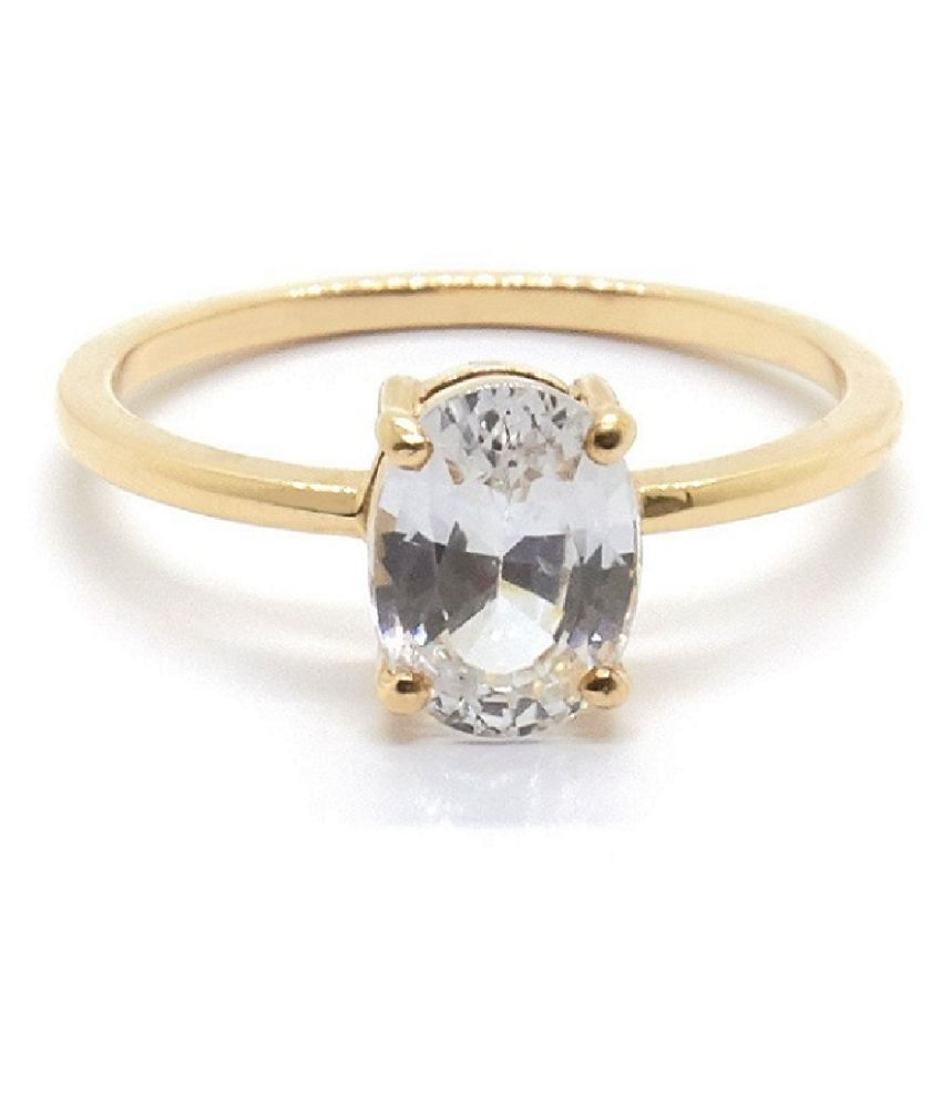 White Sapphire Ring 6 Carat natural Stone gold plated Ring by KUNDLI GEMS