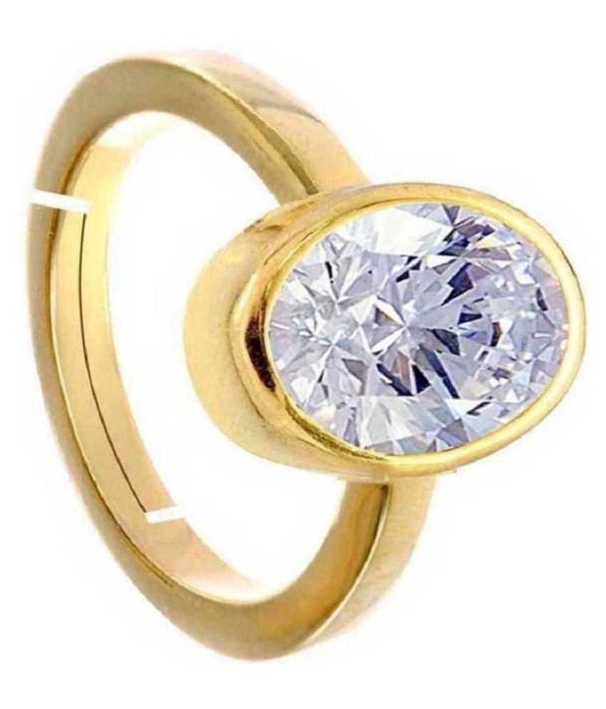 8.25 Carat  Original Certified Stone ZIRCON gold plated Ring By RATAN BAZAAR