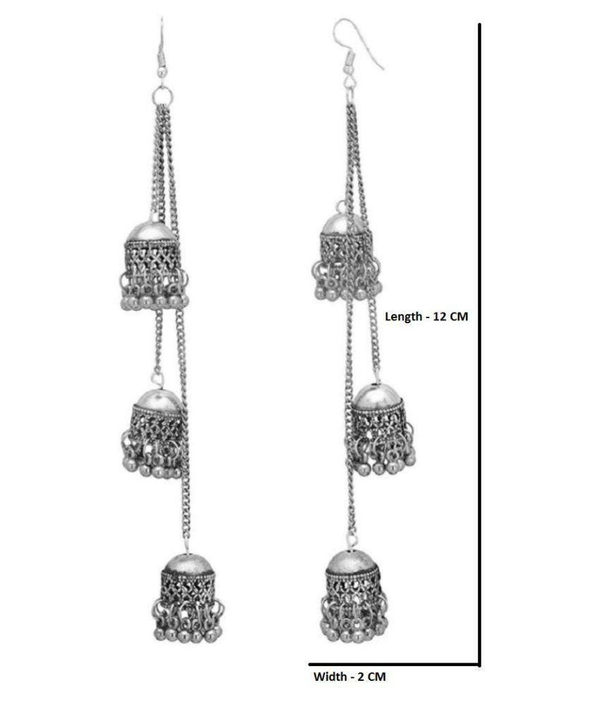 Afghani Kashmiri Oxidized Silver Long Earrings.
