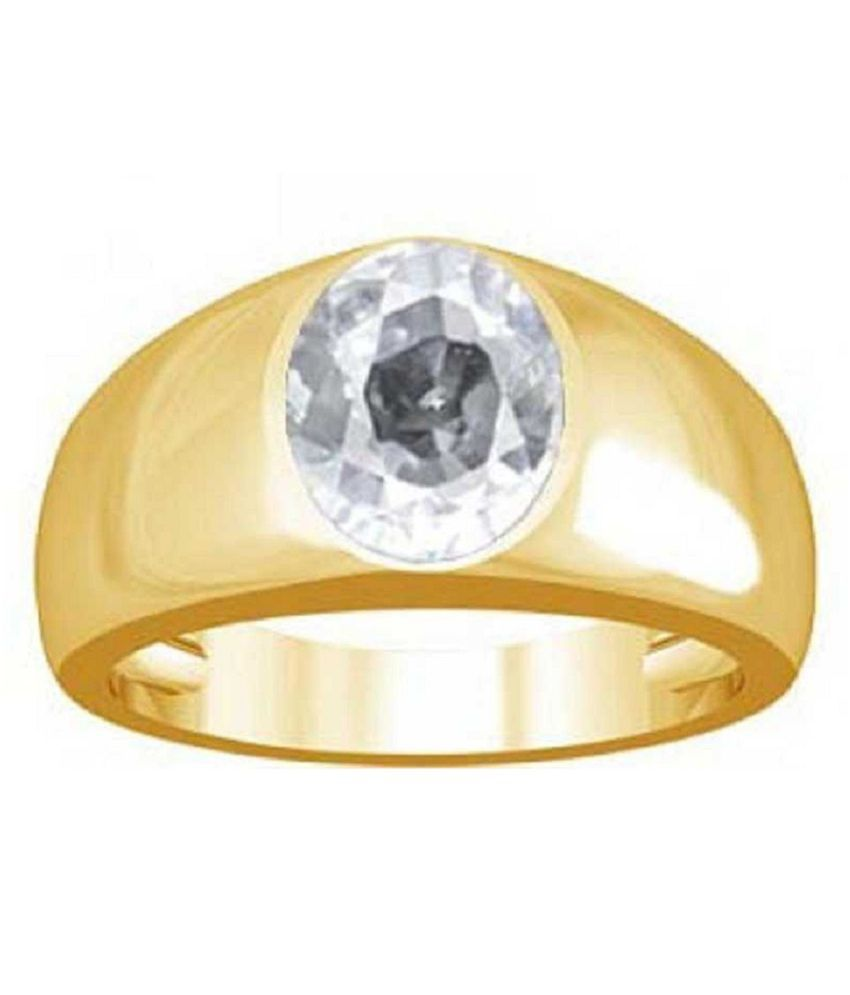 Natural ZIRCON Stone 8 Ratti  Certified Gold Plated Ring By RATAN BAZAAR