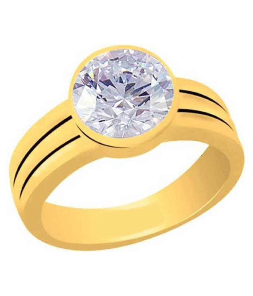 Real 7.25 Ratti ZIRCON gold plated Ring for astrological purpose by RATAN BAZAAR