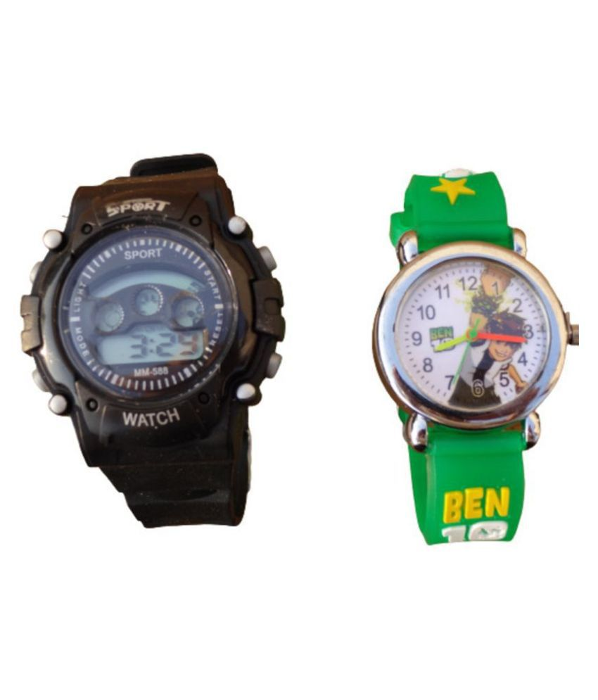Shayona baby Care combo of One Analog Ben10 Green belt and One Digital Sport Watch Black
