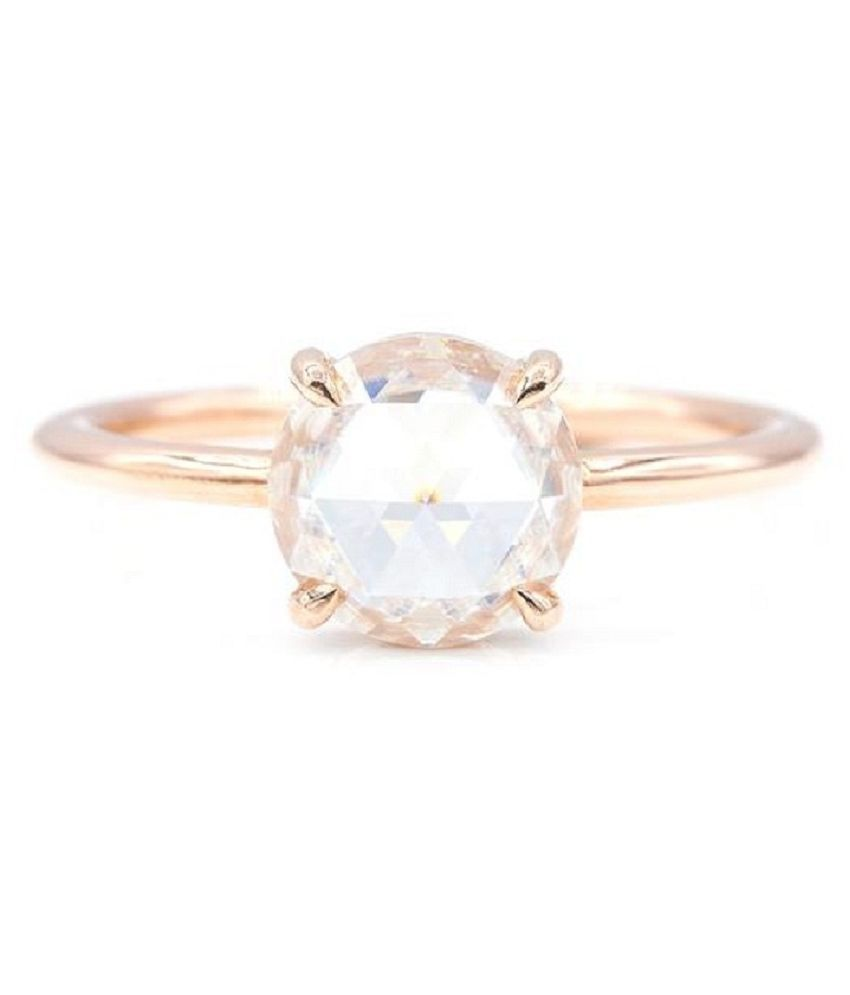6 Carat Stone White Sapphire Gold Plated Ring for unisex by Ratan Bazaar