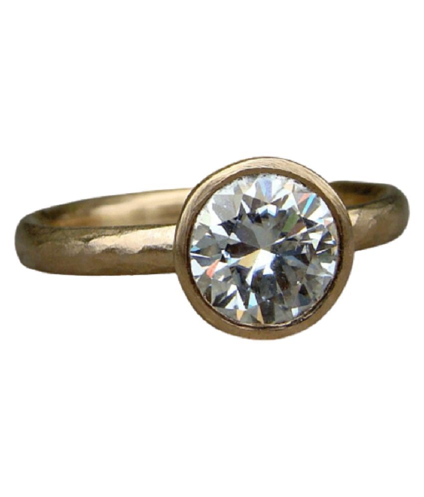 7.25 Ratti Gold Plated White Sapphire Stone Ring by  Ratan Bazaar