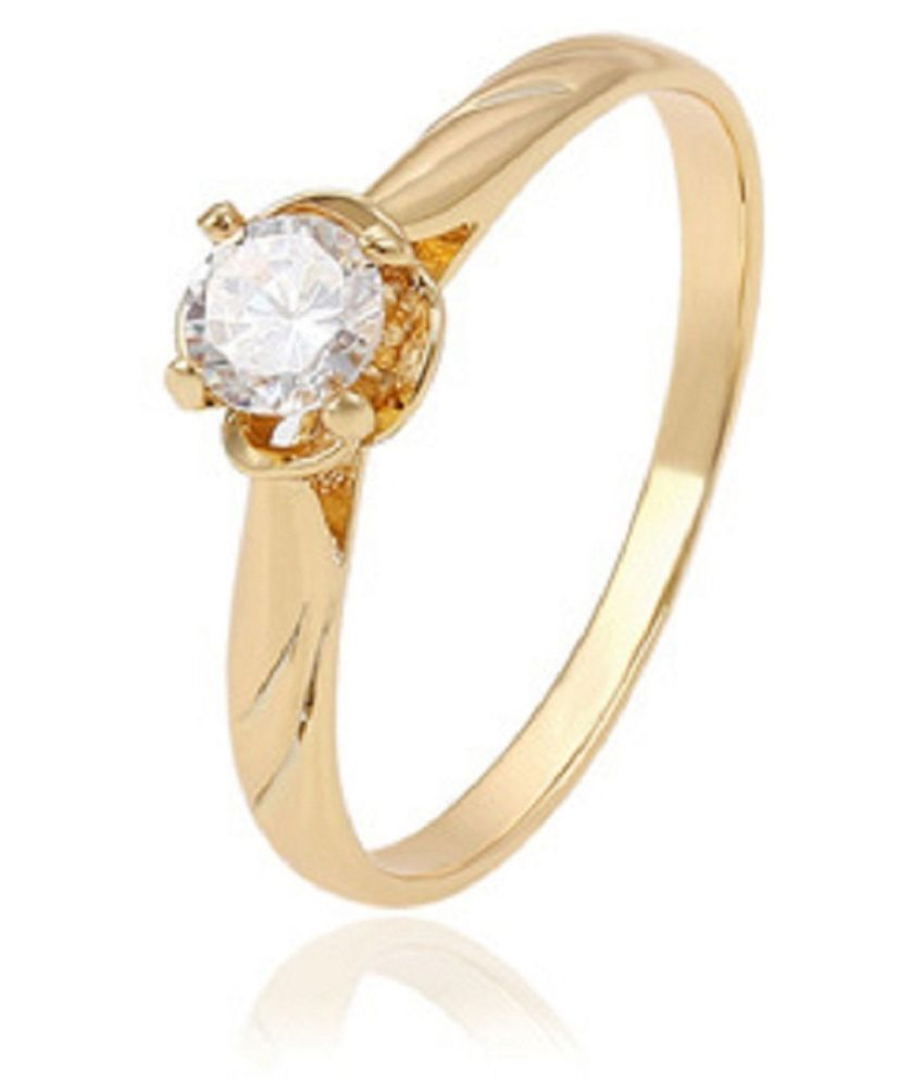 7 carat Natural Gold Plated  White Sapphire Ring for unisex by Ratan Bazaar\n