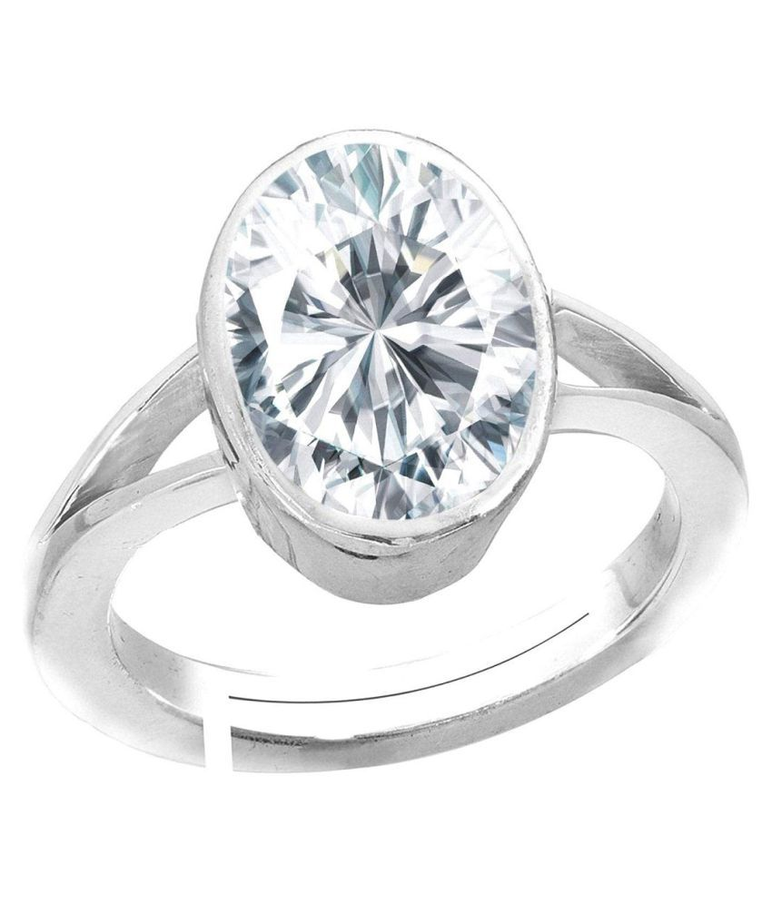 9 carat only ZIRCON  Ring with Natural & Lab Certified Silver ZIRCON  by KUNDLI GEMS