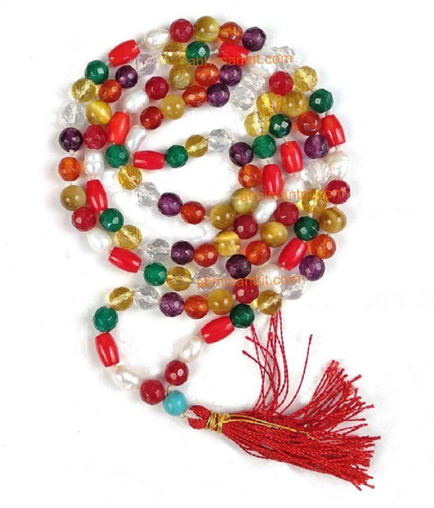 Original & Lab Certified Stone Navratna Beads Mala For Unisex Multi Color Gemstone Mala