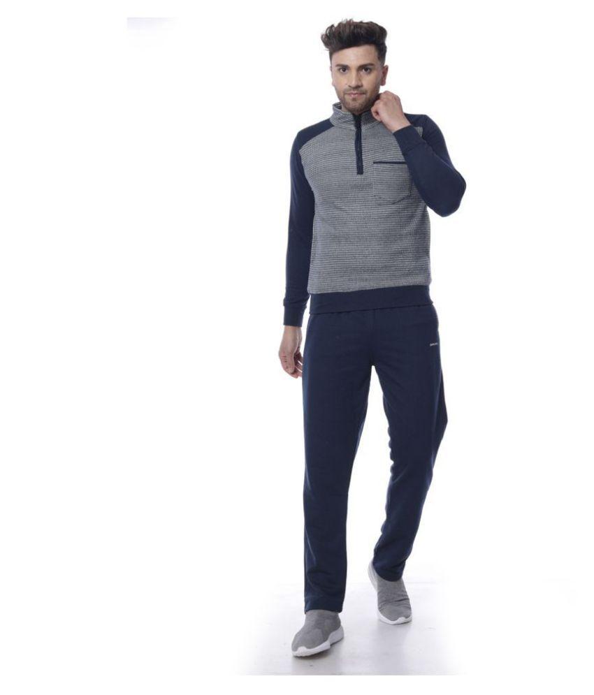 Piere Carlo Men Solid Mock Collar Regular Fit Winter Tracksuit Navy Size L