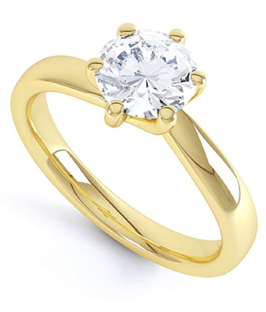 Ring 6 ratti Natural White Sapphire  Gold Plated Ring by Ratan Bazaar