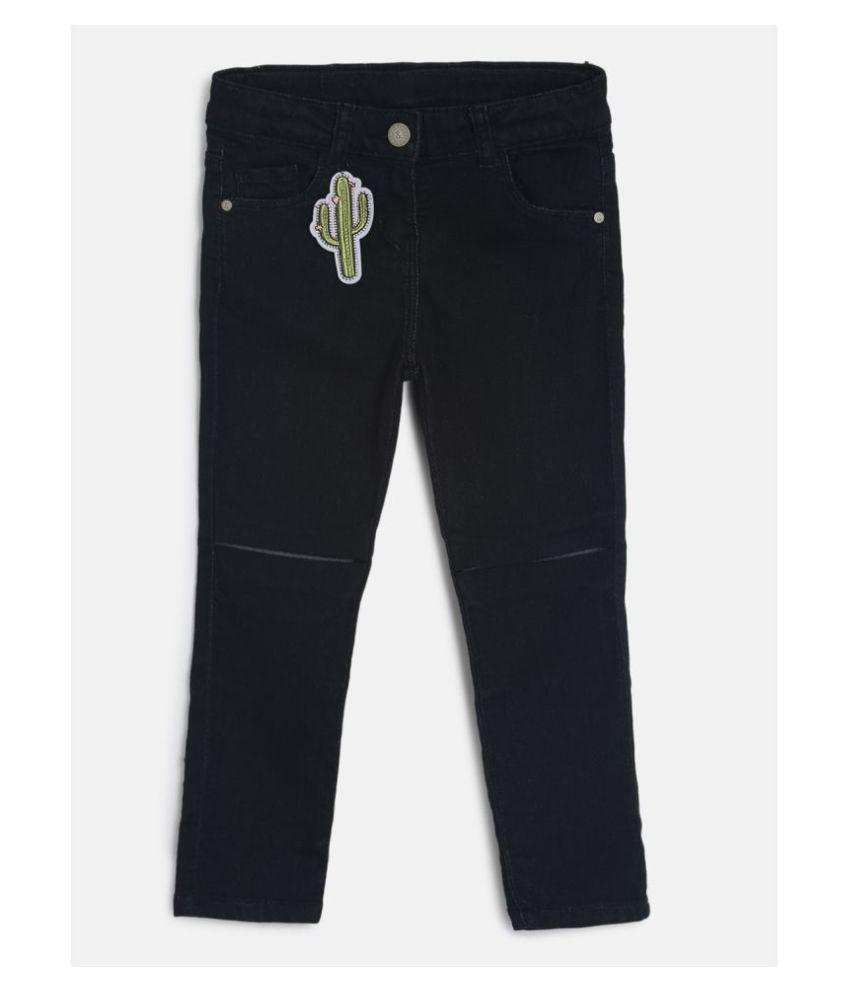Tales & Stories Girls Black Applique Pattern Slim Fit Cotton Solid Jeans