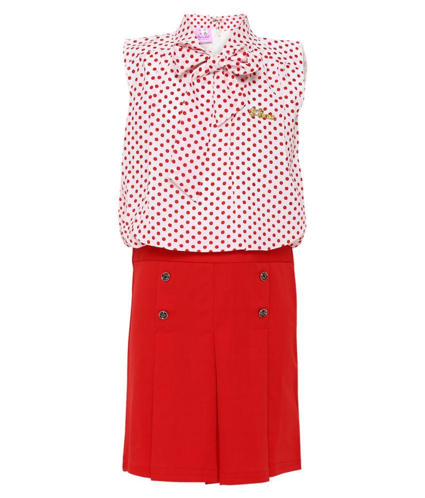 Aarika Net A-Line Midi Dress (Red_1-2 Years)