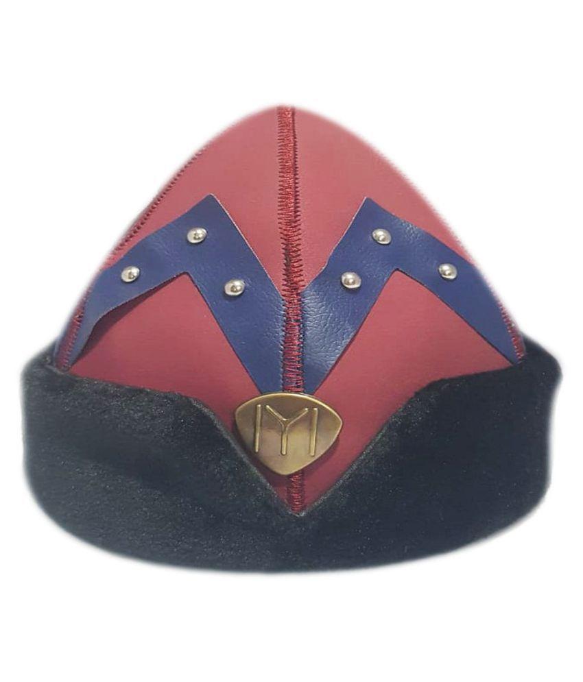 Ertugrul Ghazi Cap Maroon Embellished Fabric Caps