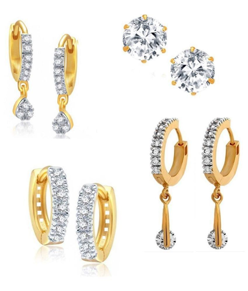 GoldNera American Diamond AD Light Weight Small Earrings Simple Tops Earrings Small Bali For Party Wear Daily Wear Matching Earrings For Girls Women. Cubic Zirconia Brass Stud Earring