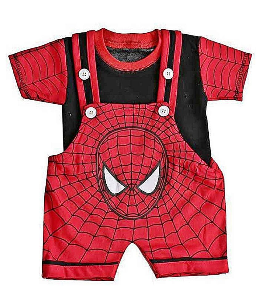 Baby boy & Baby Girl Cotton Dungaree Set with T-shirt -Spider Man