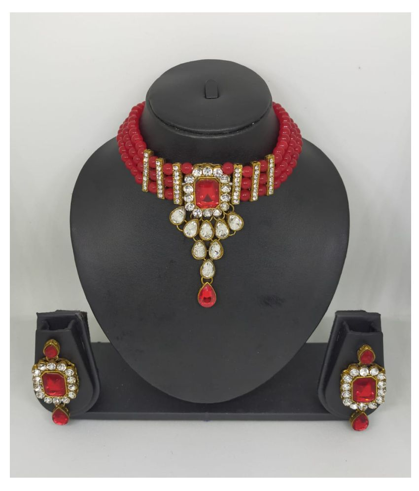 Enroute360 Pearls Red Traditional Necklaces Set Choker