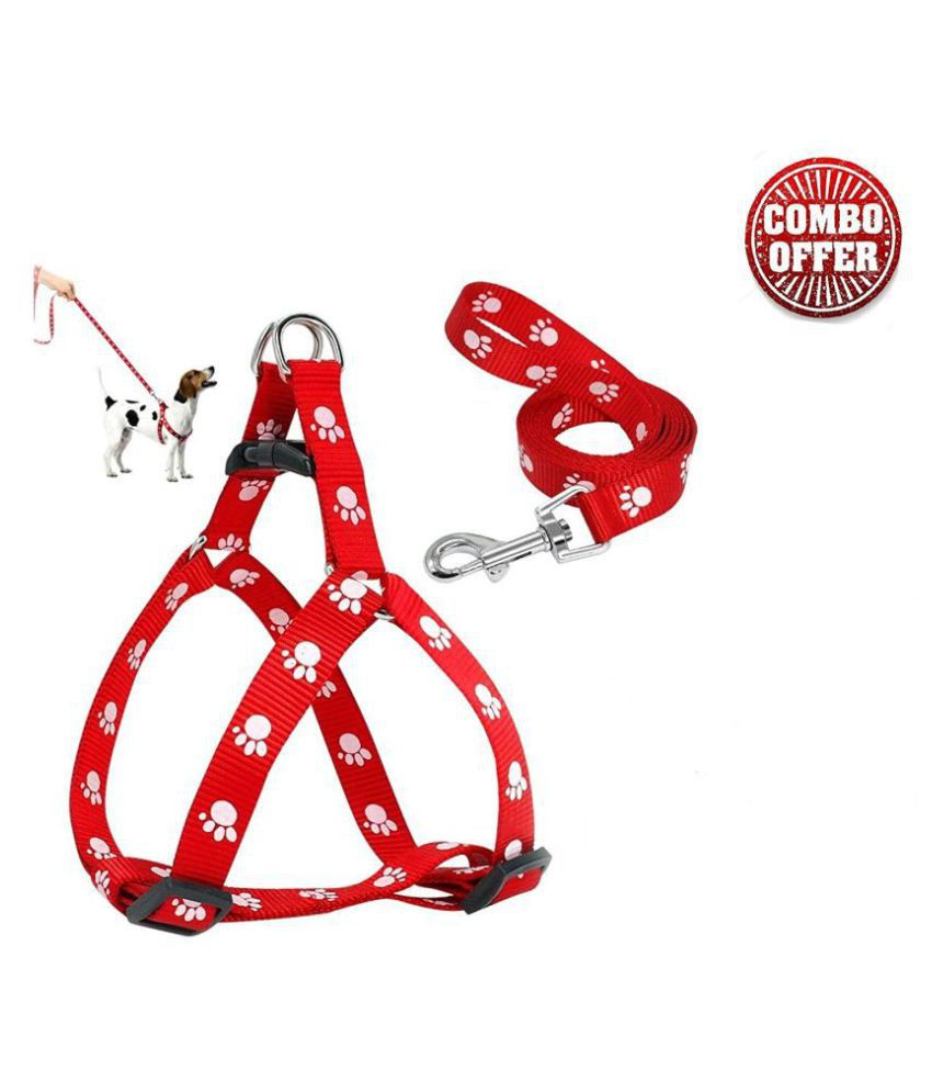 JSK PET Stylish Paw Print Nylon Puppy Harness & Leash Set for Small & Medium Dogs (Color May Vary) - Pack of (Harness + Leash)