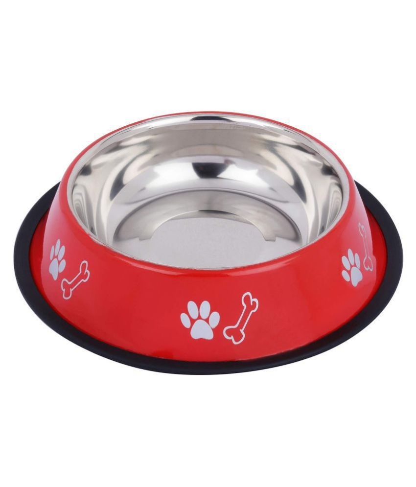 JSK Stainless Steel Dog Feeding Bowl (Red with Foot Printed, Size-450ml)