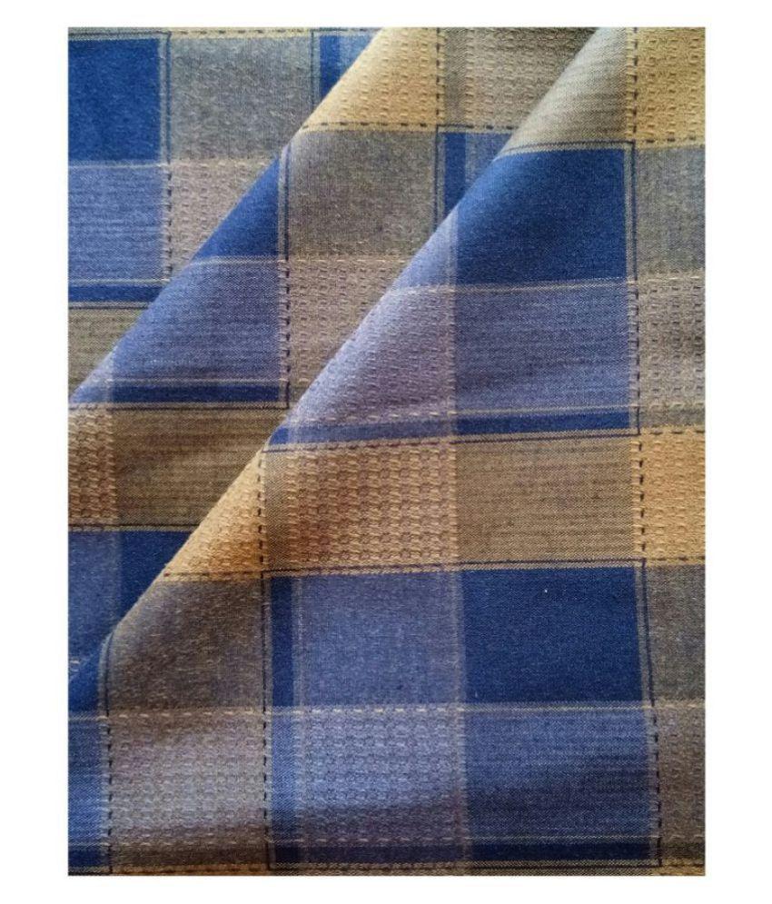 Makhanchor Blue 100 Percent Cotton Unstitched Shirt pc