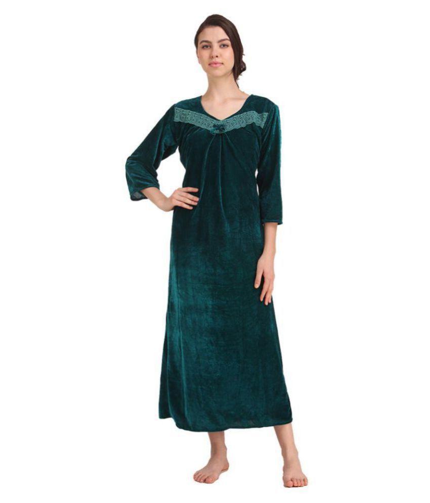 Gospel Velvet Nighty & Night Gowns - Green