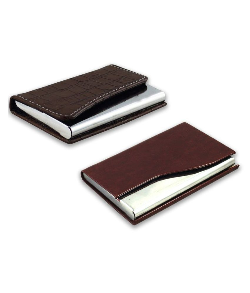 auteur A16-55  Multicolor Artificial Leather Professional Looking Visiting Card Holders for Men and Women Set of 2 (upto 10 Cards Capacity)