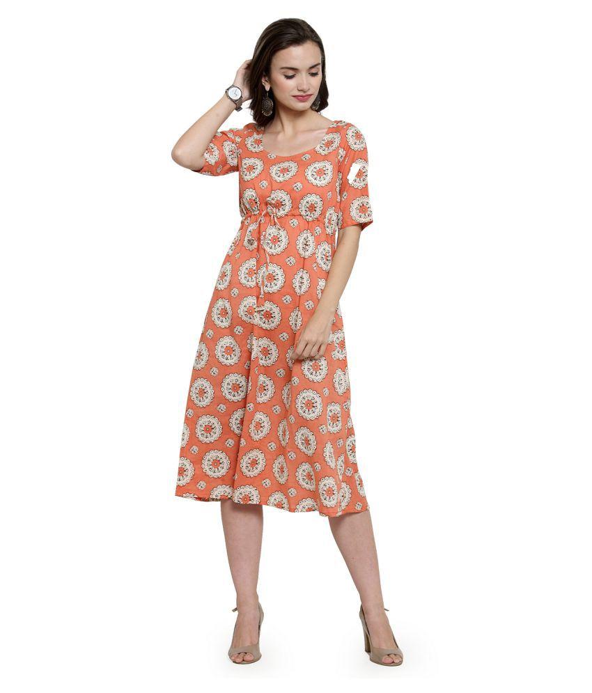 AARSHA Cotton Orange A- line Dress