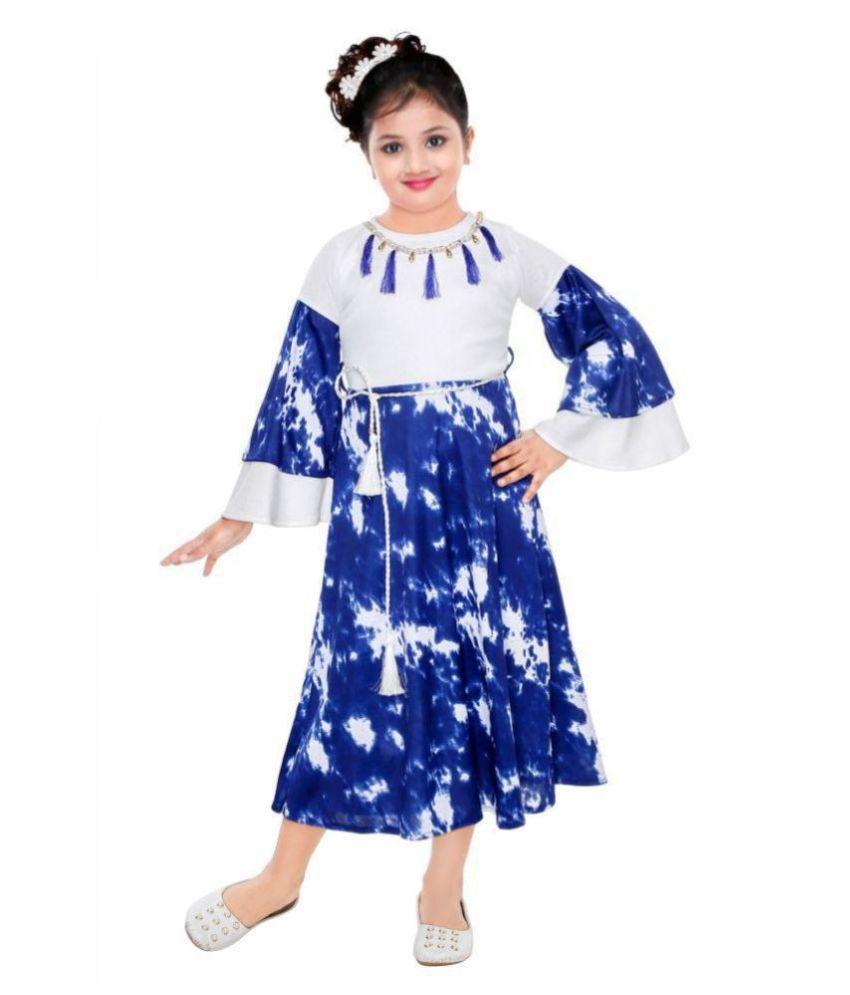 KAARIGARI Girls Maxi/Full Length Party Dress  Blue, Fashion Sleeve