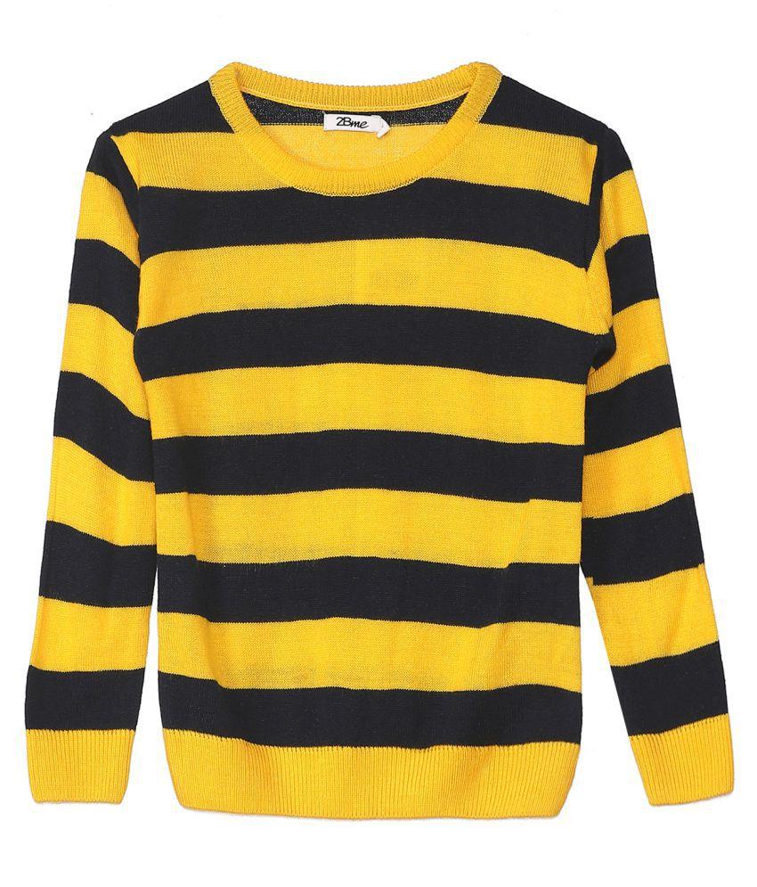 2Bme Kids Boys Cotton Stripes Yellow Sweater