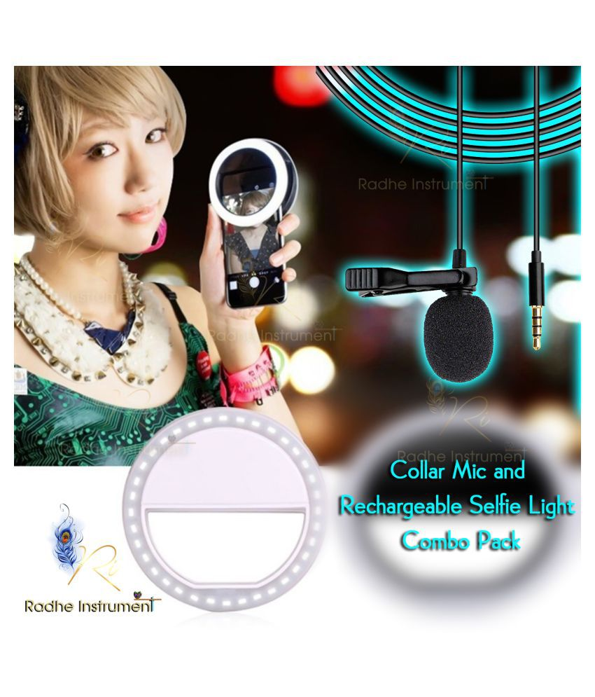 Radhe Instrument HD Quality Selfie Light & Collar Mic Combo Pack / Lapel Microphone