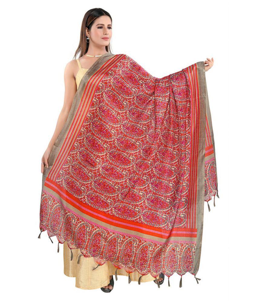 Salwar Studio Red Art Silk Dupatta