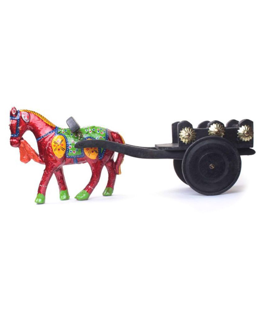 Fashion Art Multicolour Wood Horse Cart Figurines - Pack of 1