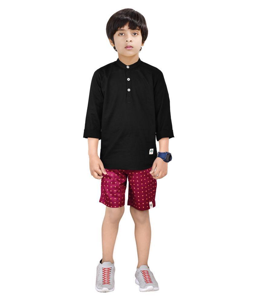 Made In The Shade Boy's Cotton Kurta And Shorts