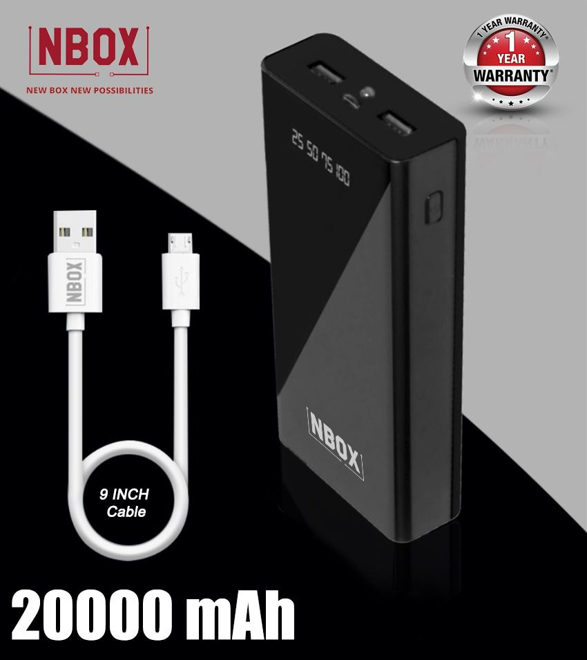 NBOX T100 2A 20000 -mAh Li-Polymer Power Bank- Black
