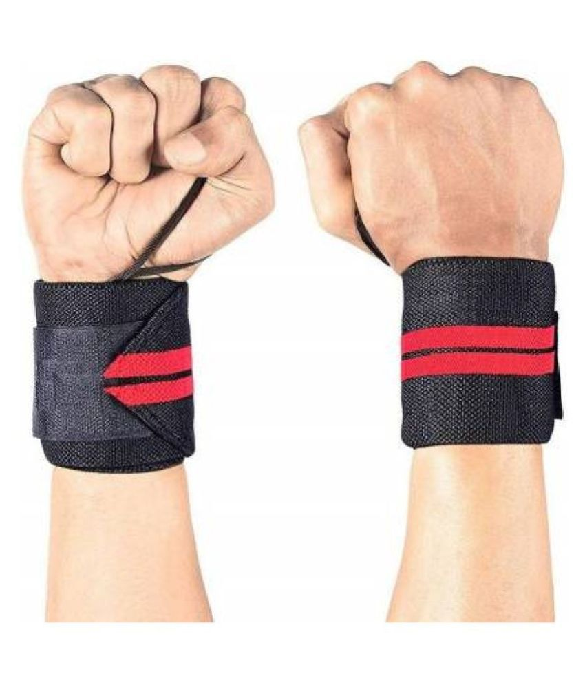 AJRO DEAL Gym Wrist Band with Thumb Support 1 Pair (Blue, Grey, Red)