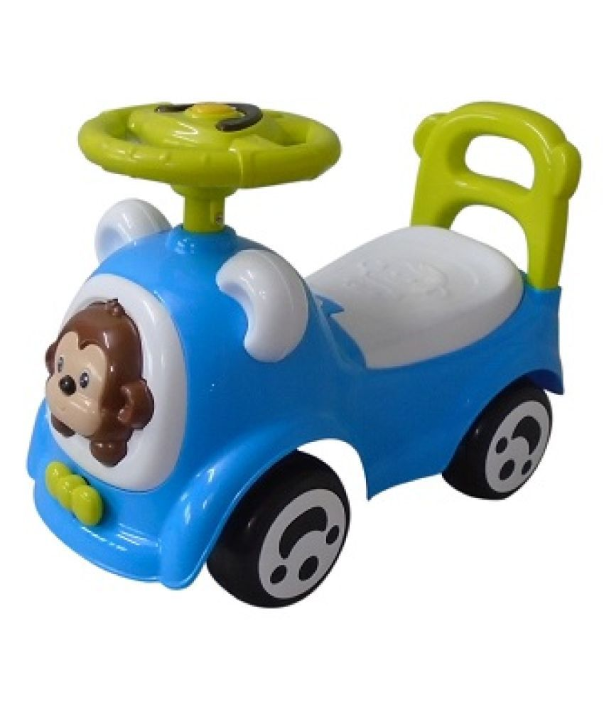 EZ' Playmates Cutie monkey manual push/pull ride-on for kids - Blue/Green