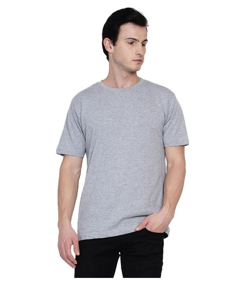 Knits and Weave 100 Percent Cotton Grey Solids T-Shirt