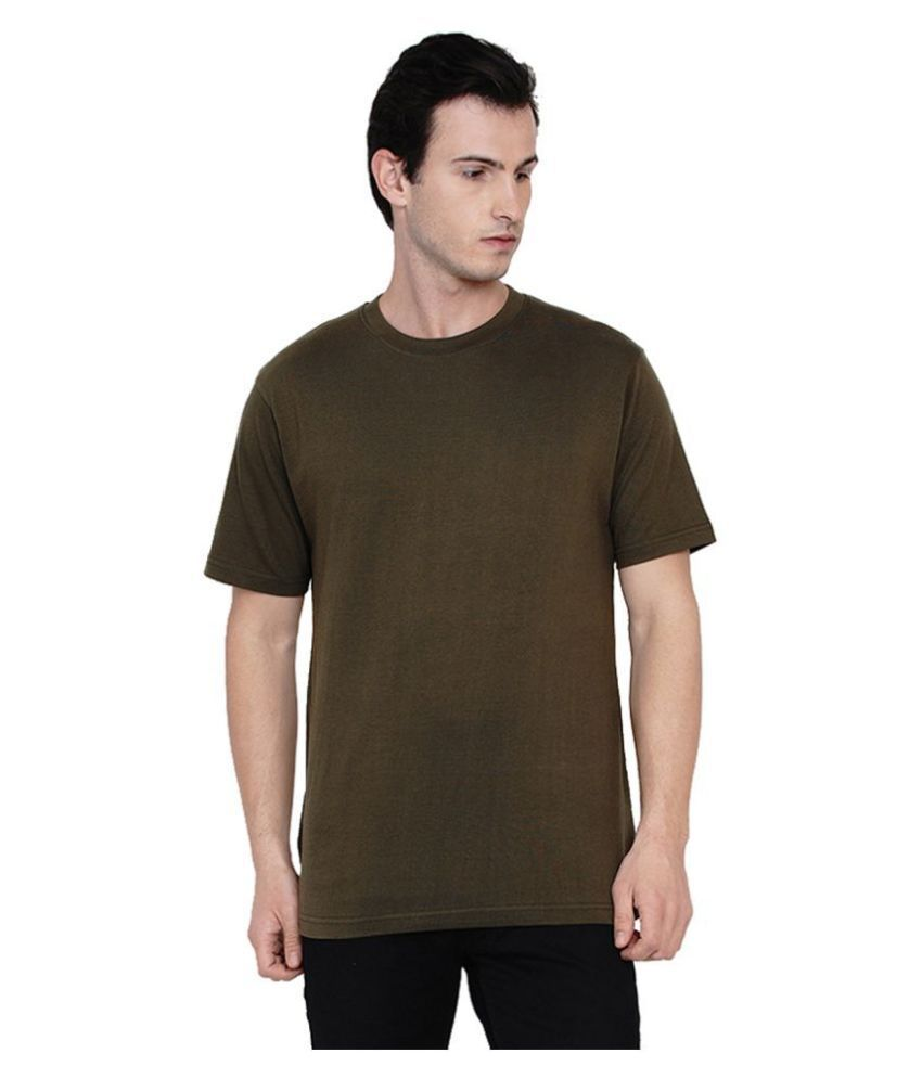 Knits and Weave 100 Percent Cotton Green Solids T-Shirt