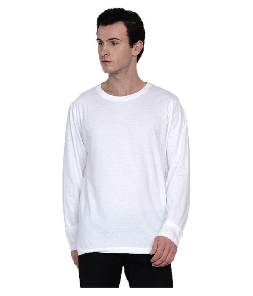 Knits and Weave 100 Percent Cotton White Solids T-Shirt