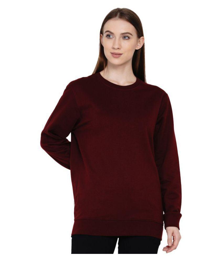Knits and Weave Cotton - Fleece Maroon Non Hooded Sweatshirt
