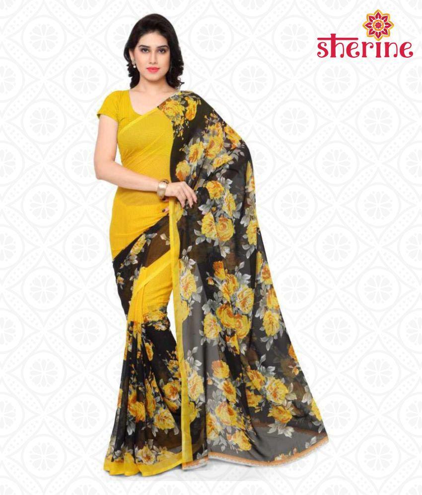 Sherine Black,Yellow Printed Saree (Fabric- Poly Georgette)
