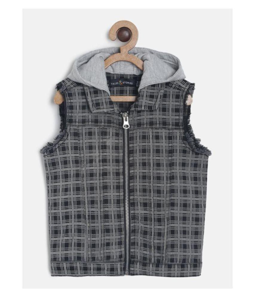 Tales & Stories Boys Cotton Checkered Sleeveless Hooded Grey Jacket