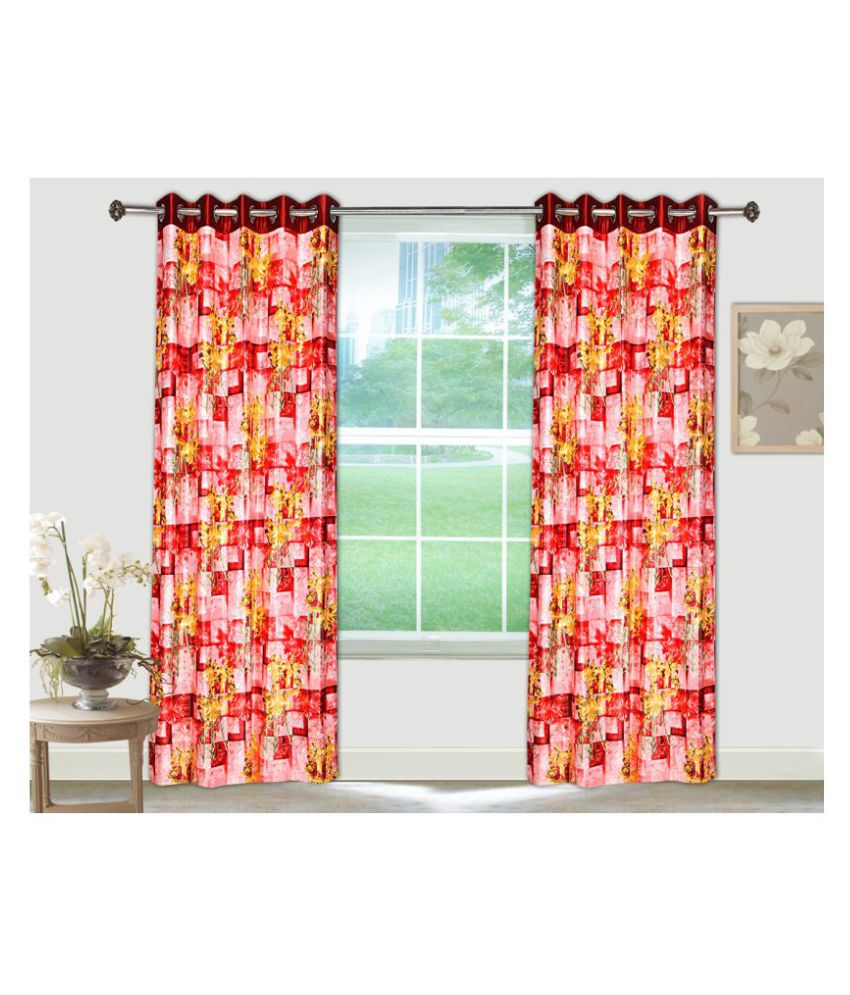 Tanyugg Single Window Semi-Transparent Eyelet Polyester Curtains Maroon