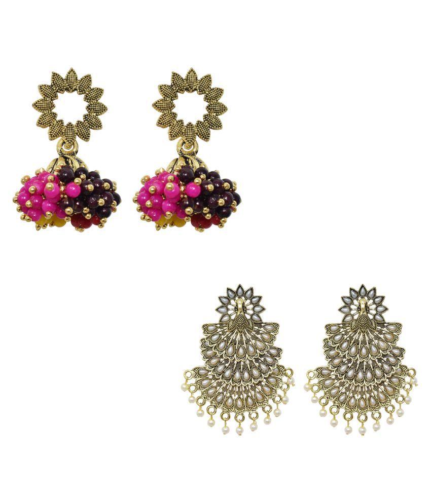 Jaishree Jewels Copper Gold Plated Jhumki Earrings Jewellery for Women & Girls