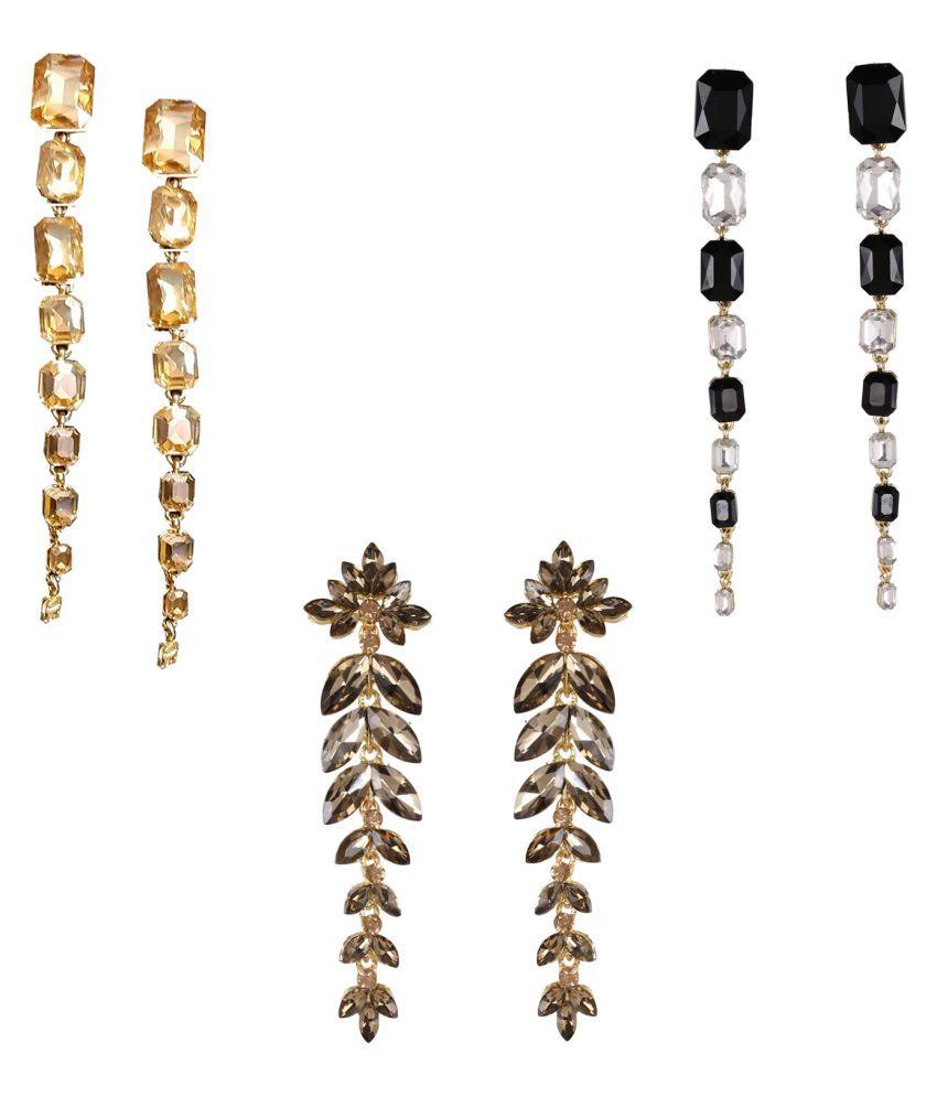 Jaishree Jewels Partywear Long glass Earring combo set of 3