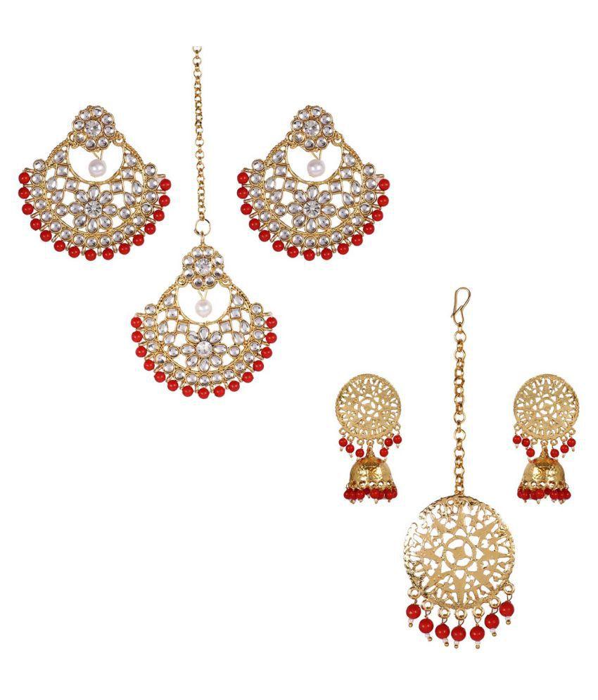 Jaishree Jewels Red Traditional Wedding Style Kundan Bollywood EDarring Maang Tikka Combo set of 2