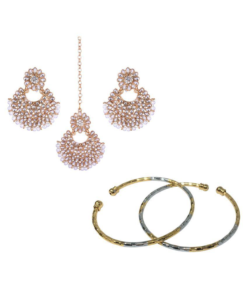Jaishree Jewels Traditional Wedding Style Beautiful Bangles And earring maang tikka combo set