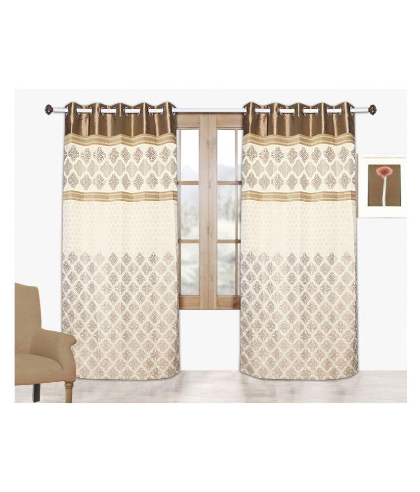 Tanyugg Single Window Semi-Transparent Eyelet Satin Curtains Brown
