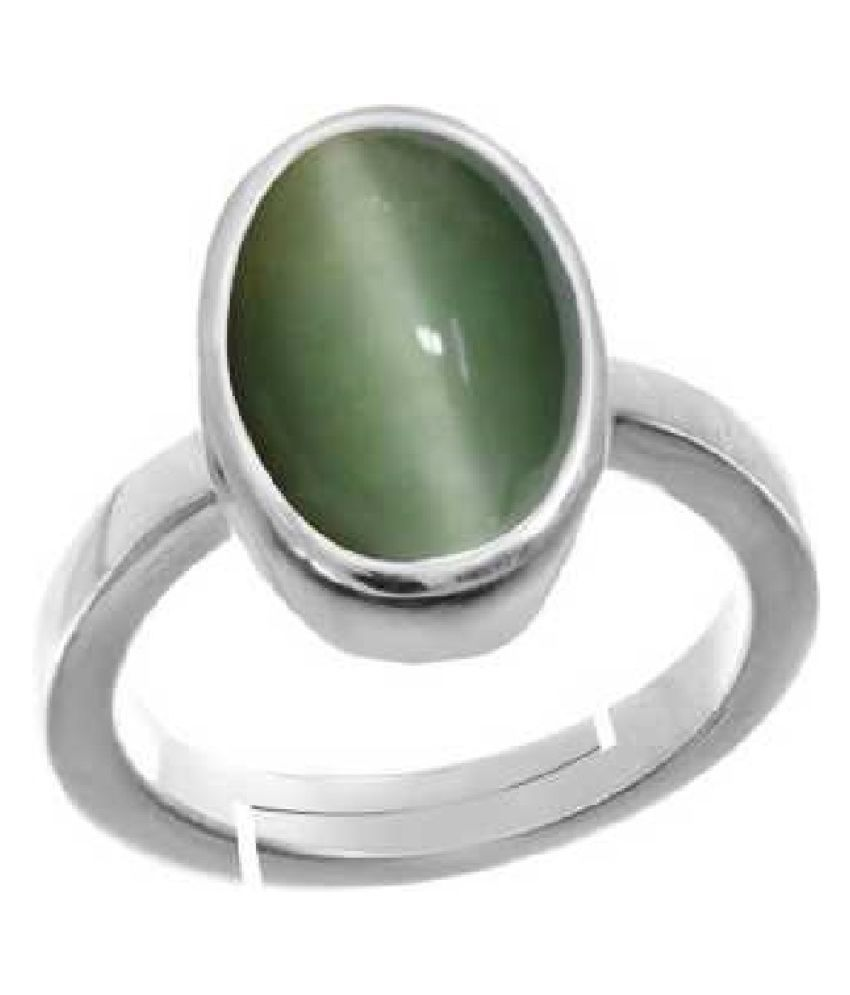 6.25 Ratti Cat's Eye (Lehsuniya) Stone pure Silver Ring for Unisex by  KUNDLI GEMS\n