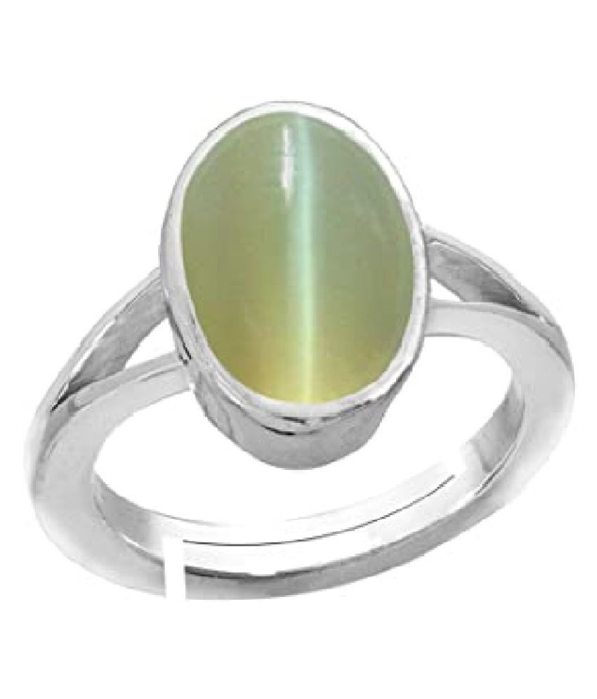 6 Carat Cat's Eye Stone Silver Ring by Kundli Gems