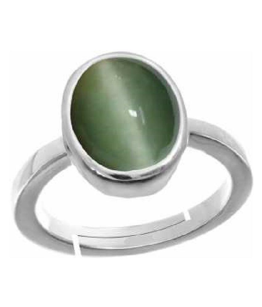 Natural 6.25 carat Cat's Eye Stone Silver Ring by  KUNDLI GEMS\n